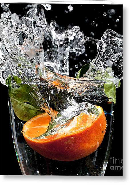 Goblet Greeting Cards - Fruit drop with big splash Greeting Card by Simon Bratt Photography LRPS