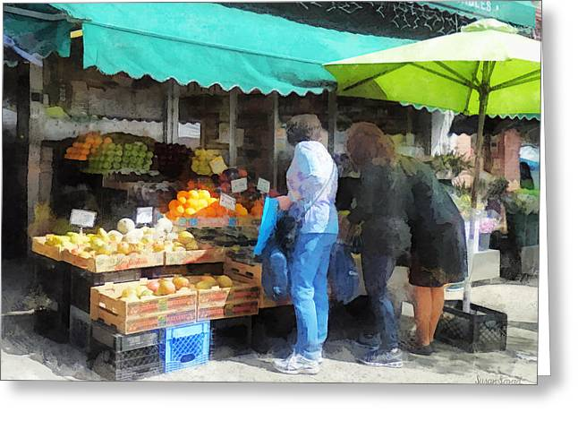 Cities Greeting Cards - Fruit For Sale Hoboken NJ Greeting Card by Susan Savad