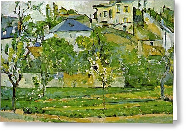 John Peter Greeting Cards - Fruit garden in Pontoise by Cezanne Greeting Card by John Peter