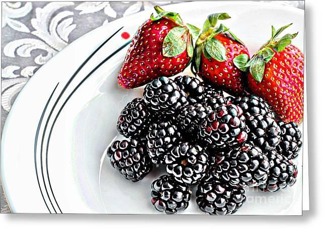 Fruit I - Strawberries - Blackberries Greeting Card by Barbara Griffin