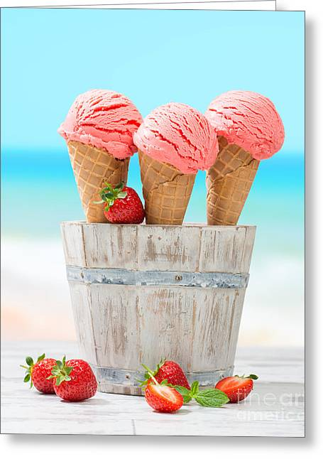 Strawberries Greeting Cards - Fruit Ice Cream Greeting Card by Amanda And Christopher Elwell