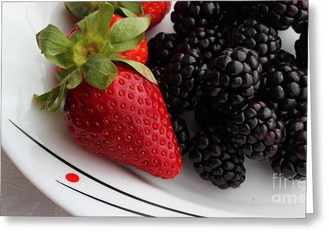 Strawberry Bunch Greeting Cards - Fruit ii - Strawberries - Blackberries Greeting Card by Barbara Griffin