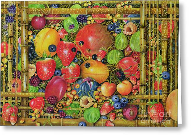 Fruit in Bamboo Box Greeting Card by EB Watts