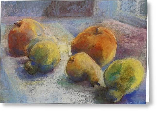 Fenster Greeting Cards - Fruit In Moonlight Greeting Card by Barbara Pommerenke