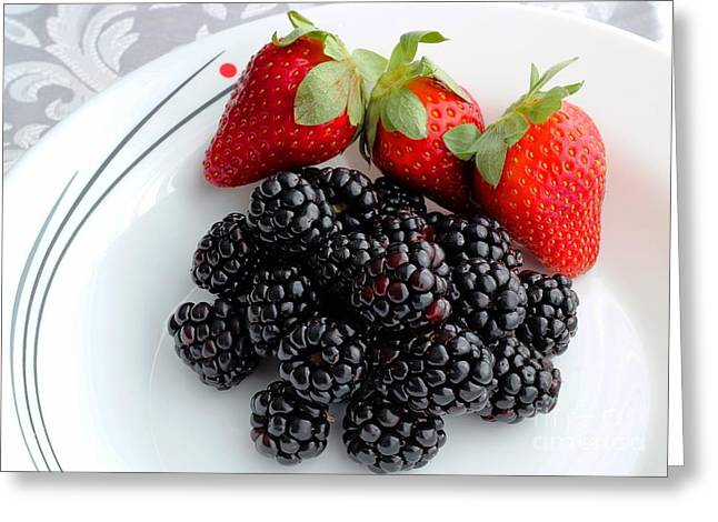Fruit iv - Strawberries - Blackberries Greeting Card by Barbara Griffin