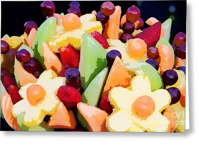 Cantaloupe Greeting Cards - Fruit Kabobs Greeting Card by Cindy Singleton