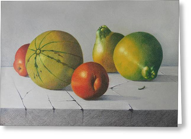 Melon Drawings Greeting Cards - Fruit Greeting Card by Lina Velez