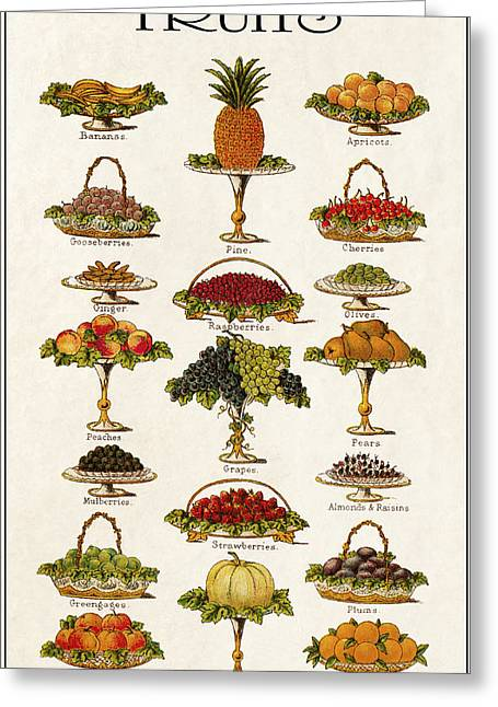 Fruit And Wine Digital Greeting Cards - Fruit Lovers Panel 1888 Greeting Card by Daniel Hagerman
