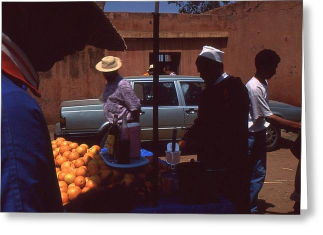 Rolf Ashby Greeting Cards - Fruit market Casablanca 1996 Greeting Card by Rolf Ashby