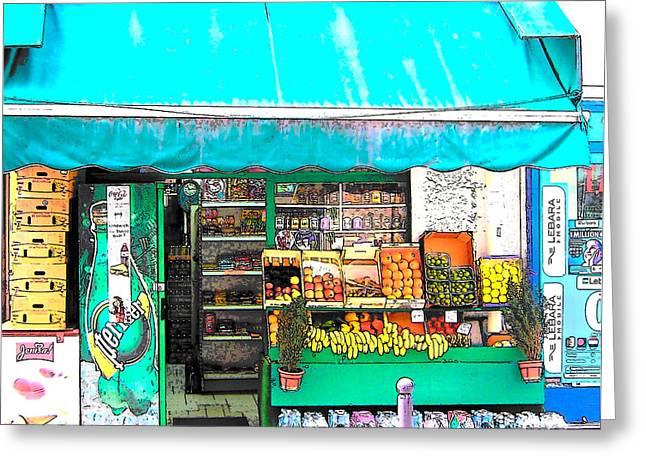 Interior Scene Digital Art Greeting Cards - Fruit Market in Paris Greeting Card by Jan Matson