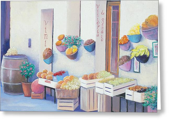 Fruit Market In Tuscany Greeting Card by Jan Matson
