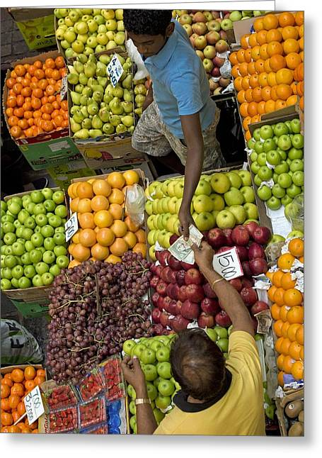 Man Looking Down Greeting Cards - Fruit market, Mauritius Greeting Card by Science Photo Library