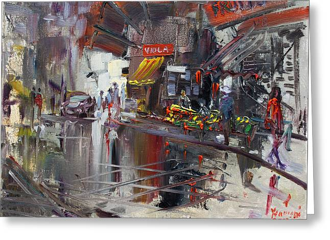Red Car Greeting Cards - Fruit Market Greeting Card by Ylli Haruni