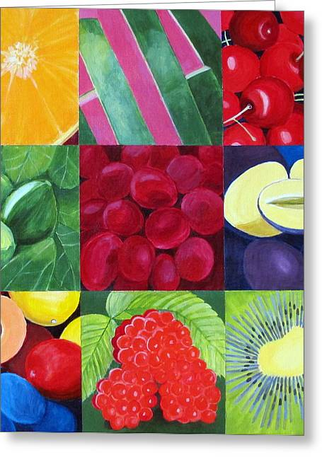 Apricot Greeting Cards - Fruit Medley Greeting Card by Toni Silber-Delerive