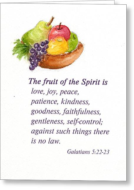 Bible Mixed Media Greeting Cards - Fruit of the Spirit Greeting Card by Diane Hall