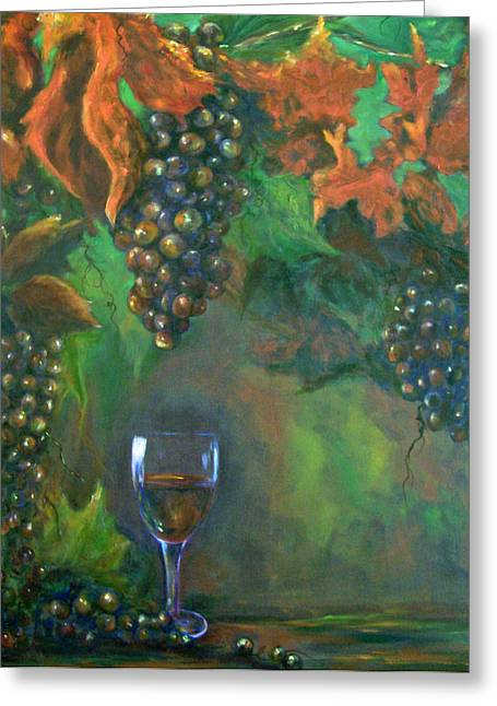 Clusters Of Grapes Paintings Greeting Cards - Fruit of the Vine Greeting Card by Sandra Cutrer