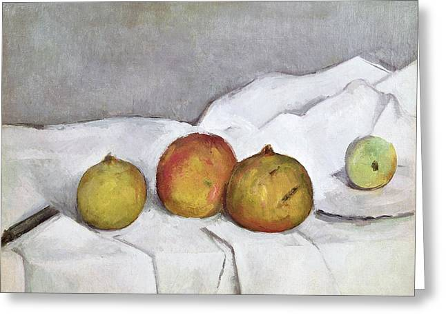 European Fruit Greeting Cards - Fruit on a Cloth Greeting Card by Paul Cezanne