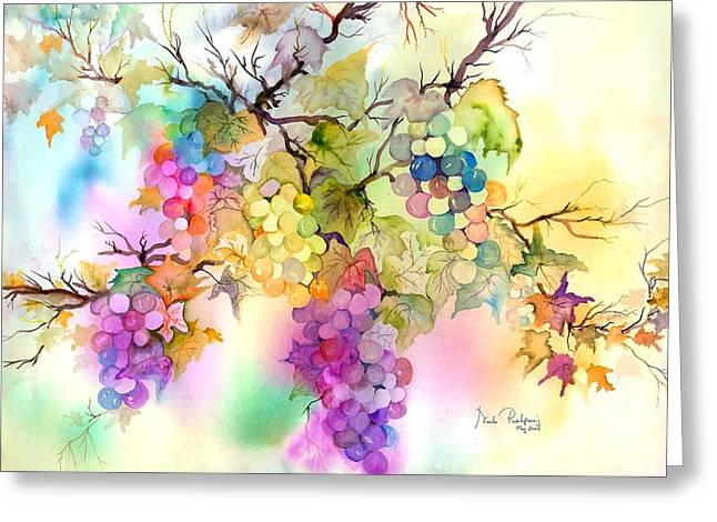Grape Vines Paintings Greeting Cards - Fruit on the Vine Greeting Card by Neela Pushparaj