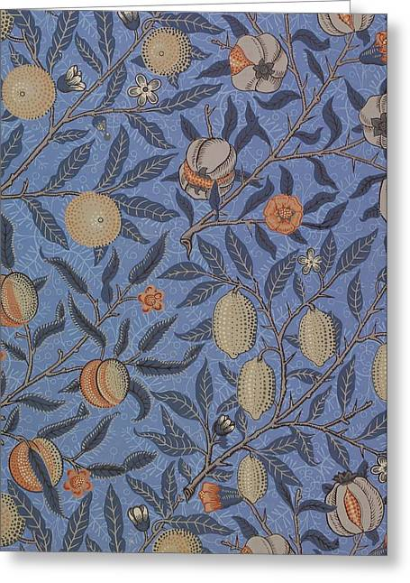 Blue Tapestries - Textiles Greeting Cards - Fruit Pattern Greeting Card by William Morris
