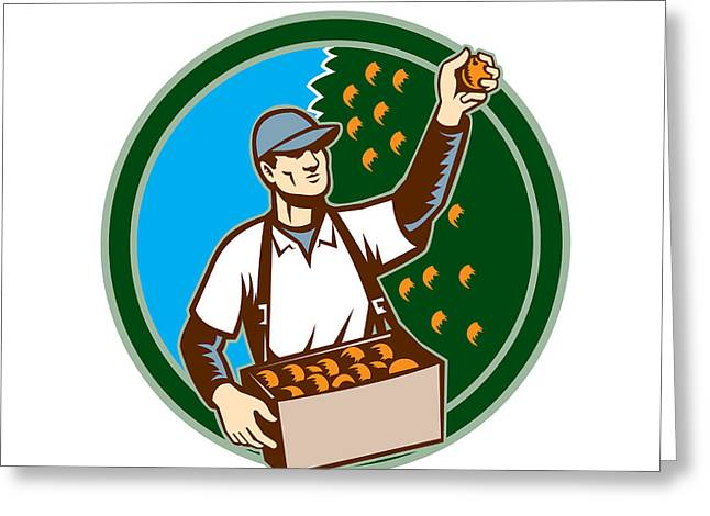 Fruit Picker Worker Picking Plum Circle Greeting Card by Aloysius Patrimonio