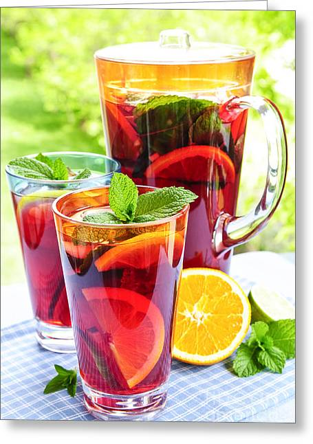 Jugs Greeting Cards - Fruit punch  Greeting Card by Elena Elisseeva