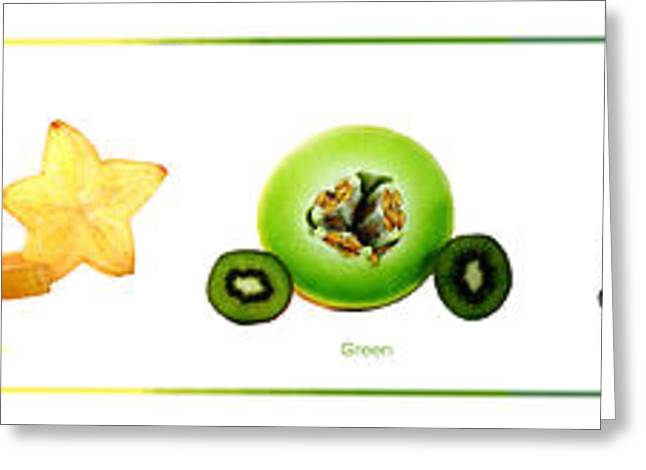 Blue Grapes Greeting Cards - Fruit Rainbow Greeting Card by Leigh Grundy