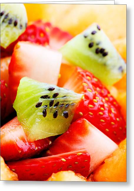 Healthy Greeting Cards - Fruit salad macro Greeting Card by Johan Swanepoel