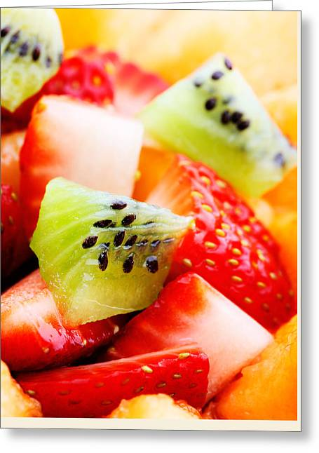 Tropical Fruit Greeting Cards - Fruit salad macro Greeting Card by Johan Swanepoel