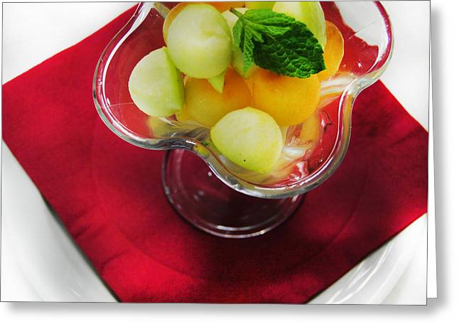 Melon Digital Greeting Cards - Fruit salade dessert Greeting Card by Gina Dsgn