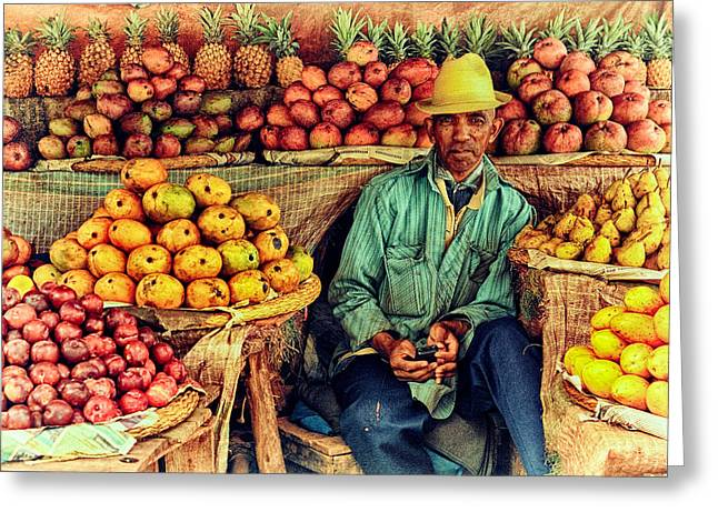 Farm Stand Greeting Cards - Fruit Seller Greeting Card by Heidi Yanulis
