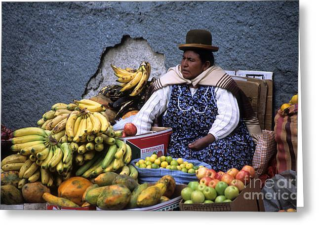 La Paz Greeting Cards - Fruit Seller Greeting Card by James Brunker