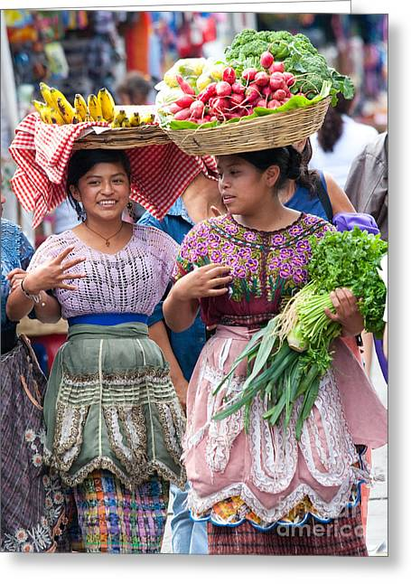 Costume Photographs Greeting Cards - Fruit Sellers in Antigua Guatemala Greeting Card by David Smith