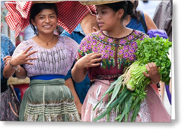 Fruit Sellers in Antigua Guatemala Greeting Card by David Smith
