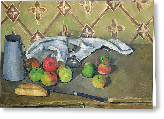 Nature Morte Greeting Cards - Fruit Serviette and Milk Jug Greeting Card by Paul Cezanne