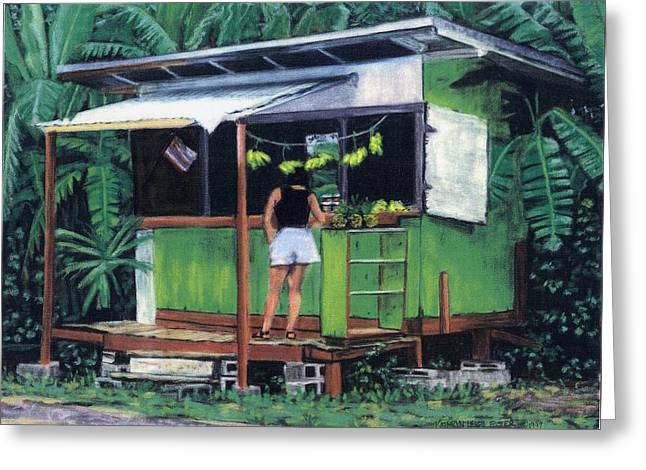 Hawaiian Pastels Greeting Cards - Fruit Shack Greeting Card by Kathryn Foster