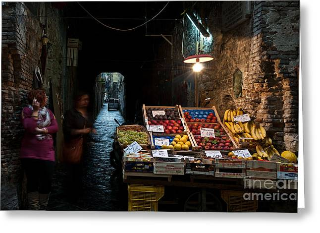 Fruit Stall Greeting Card by Marion Galt