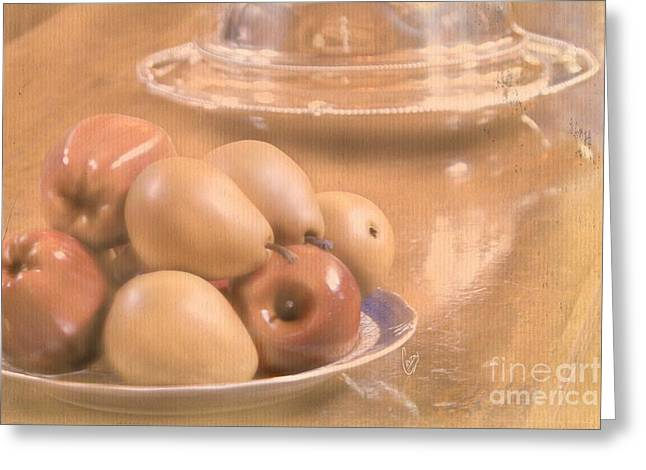 Banquet Mixed Media Greeting Cards - Fruit still life Greeting Card by Cindy Garber Iverson
