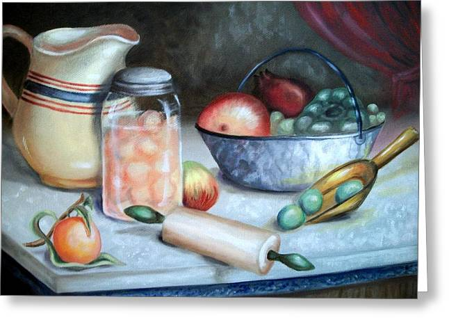 Marbel Greeting Cards - Fruit Still Life Greeting Card by Em Scott