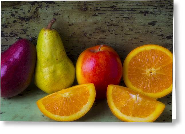 Pears Photographs Greeting Cards - Fruit still life Greeting Card by Garry Gay