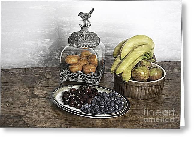 Tangerine Greeting Cards - Fruit Still LIfe Greeting Card by Lesley Rigg