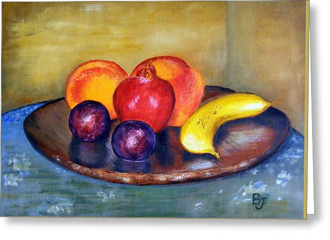 Oil Jewelry Greeting Cards - Fruit Still Life Painting Greeting Card by Barbara Jacquin