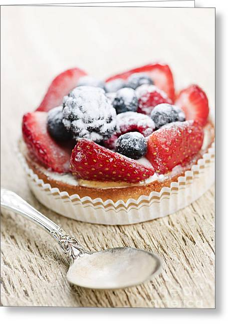 Delicacy Greeting Cards - Fruit tart with spoon Greeting Card by Elena Elisseeva