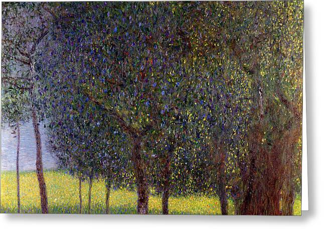 Fruit Tree Art Greeting Cards - Fruit Trees Greeting Card by Gustav Klimt