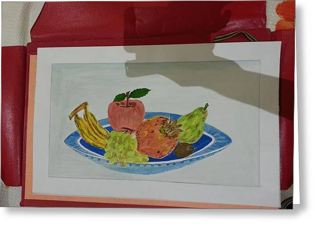 Etc. Paintings Greeting Cards - Fruit trey Greeting Card by Ramroop Yadav