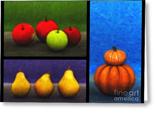 Pear Digital Greeting Cards - Fruit Trilogy Greeting Card by Jutta Maria Pusl