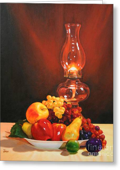 Hurricane Lamp Greeting Cards - Fruit Under Lamp Light Greeting Card by Jimmie Bartlett