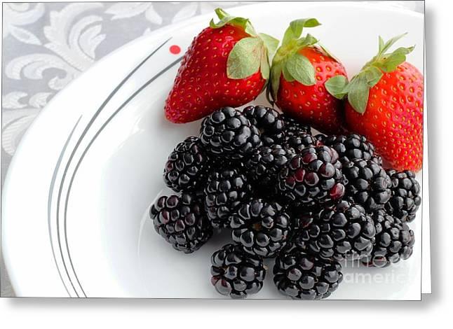 Fruit V - Strawberries - Blackberries Greeting Card by Barbara Griffin