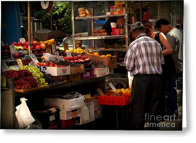 Watermelon Greeting Cards - Fruit Vendor 1 Greeting Card by Miriam Danar