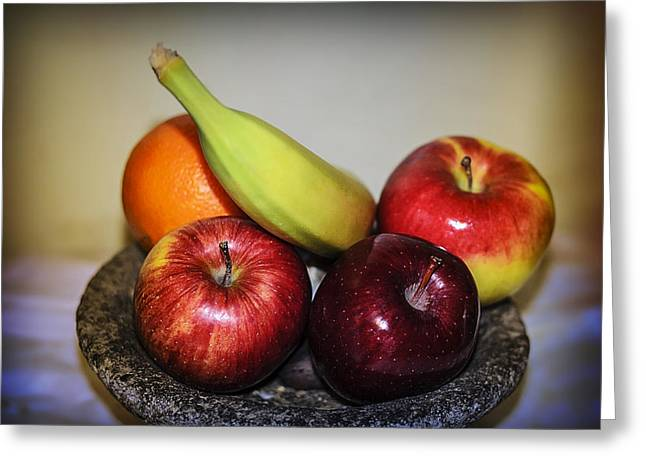 Sustenance Greeting Cards - Fruit Vignette Greeting Card by Camille Lopez