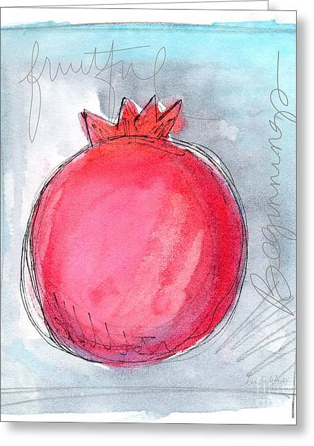 Organic Mixed Media Greeting Cards - Fruitful Beginning Greeting Card by Linda Woods